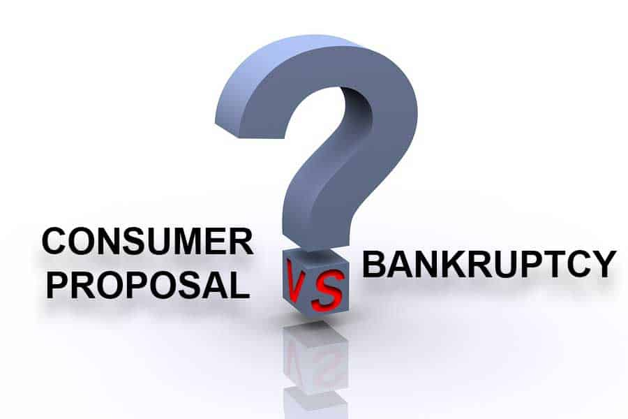 Words Consumer Proposal Vs Bankruptcy with Question Mark