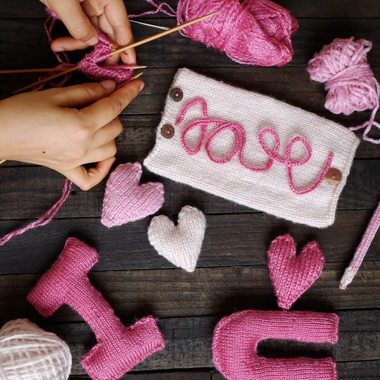 Handmade and knitted cute as a valentine's day gift at no cost
