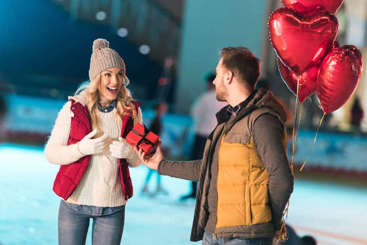 Couples' ice skate date on valentine's day is cheaper