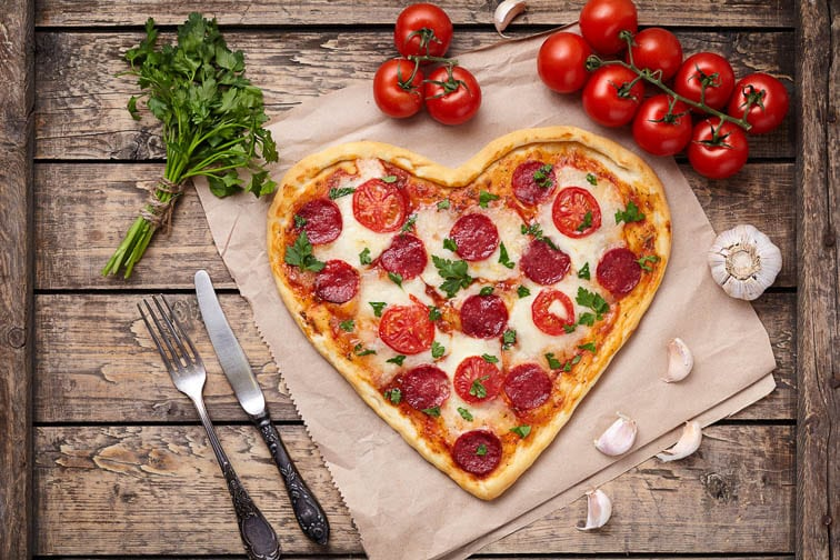 heart shaped valentine's day pizza to save money on Valentine's day